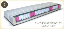 Dwustronny materac kieszeniowy 7strefowy. 7stref materaca różnej twardości umożliwia idealne dopasowanie oraz podparcie do poszczególnych części ciała, z których każda potrzebuje innej siły podparcia. Sprężyna kieszeniowa eliminuje efekt uginania strefowe