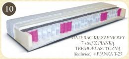 Dwustronny materac kieszeniowy 7strefowy. Jedna strona materaca obłożona jest pianką termoelastyczną a druga pianką T-25. 7stref materaca różnej twardości umożliwia idealne dopasowanie oraz podparcie do poszczególnych części ciała, z których każda potrzeb