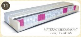 Dwustronny materac kieszeniowy 7strefowy z 2 cm lateksem po obu stronach. Strona twardsza jest z filcem oddzielającym sprężyny kieszeniowe od lateksu. Natomiast strona miększa jest z lateksem i owata. 7stref materaca różnej twardości umożliwia idealne dop